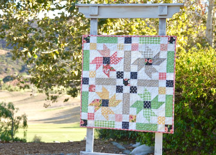 "Country Flowers small quilt pattern.  Measures 26"".  Fabrics are Farmers Daughters by Moda."