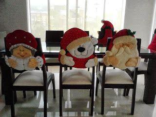 Gata Bacana: Molde Capas de Cadeira para o Natal, Papai Noel, Mamae Noel, Vovozinha, Pinguim, Urso Noel, Rena, Boneca de Neve