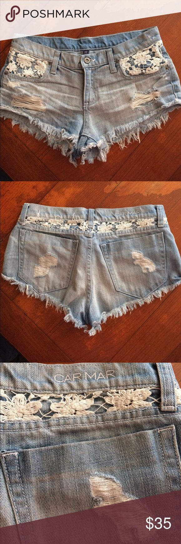 Tonight Only❣️Going on vacation Sale🌼LF Shorts🌼 Super cute Carmar Denim Shorts by hipster label LF; Style D11 2213L; Cut L9190; 100%Cotton; Made in USA; Slight wear and tear on embroidery part above left back pocket, no biggie, see Photo 4; LF Shorts Jean Shorts