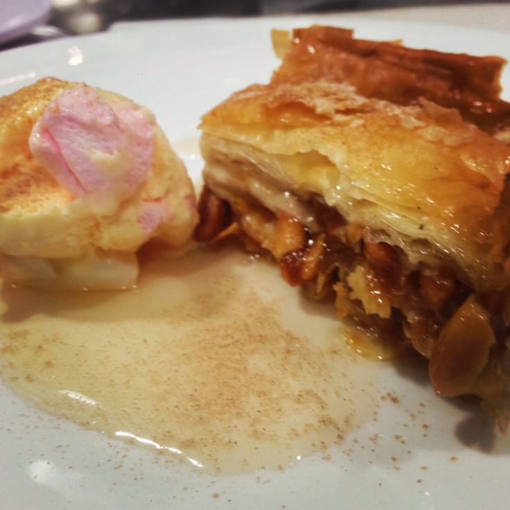 Salted caramel and peanut baklava served with mastic and marshmallow ice cream