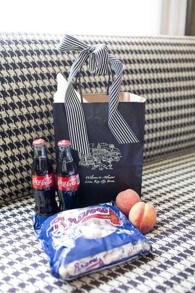 Destination wedding welcome bags (fill bags with local goodies, refreshing drinks, a map or activity guide for your guests)
