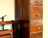 VERY RARE Circa 1860 Beautiful Oak Victorian filing cabinet converted into a tall boy chest of drawers for many storage uses