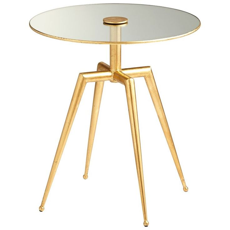 Cyan Design Talon Side Table Talon 19 Inch Diameter Iron and Glass Side Table Gold Leaf Furniture Tables End Tables