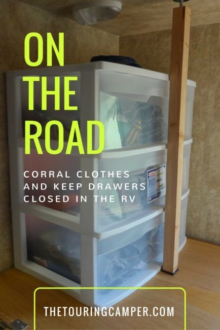 Corral those clothes! A simple trick for storing clothes in the camper.