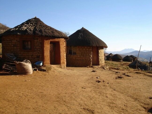 Lesotho, South Africa~These typical huts are made to withstand freezing temperatures in the mountous regions of South Africa