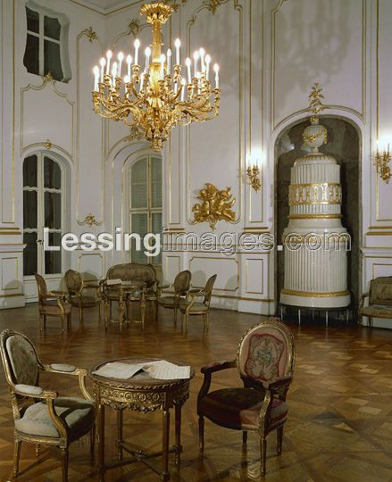 . The music-room at the Esterhazy Palace in Eszterhaza, today Fertoed, in Hungary. Haydn operas were staged at the small private theater, now destroyed. His orchestral and chamber music was performed here in the music room.