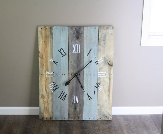 large rectangular 36 quot by 26 quot wall clock rustic yet modern sky blue color wash mix of