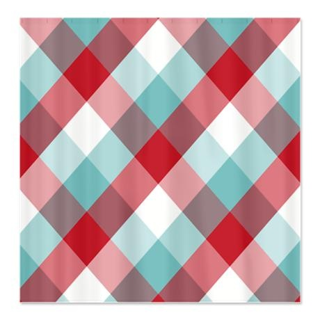 Red And Blue Diamond Plaid Shower Curtain On