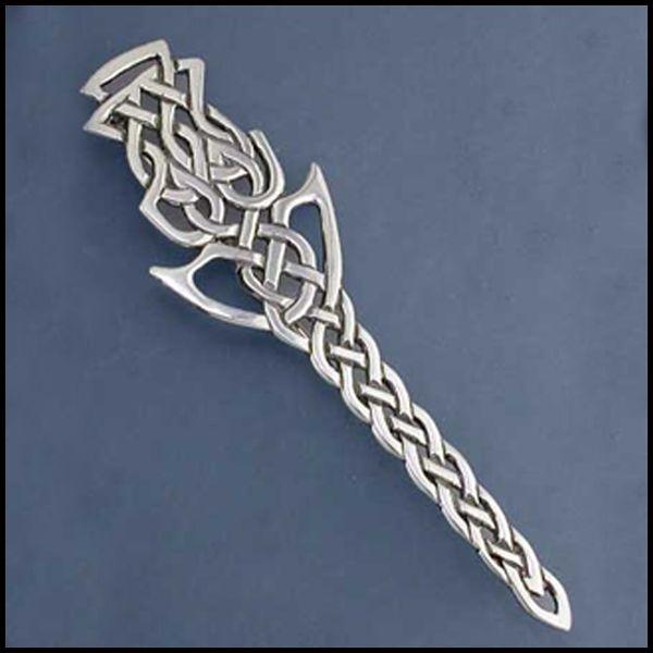 Sterling silver thistle kilt pin by Stephen Walker, Walker Metalsmiths Celtic Jewelry.