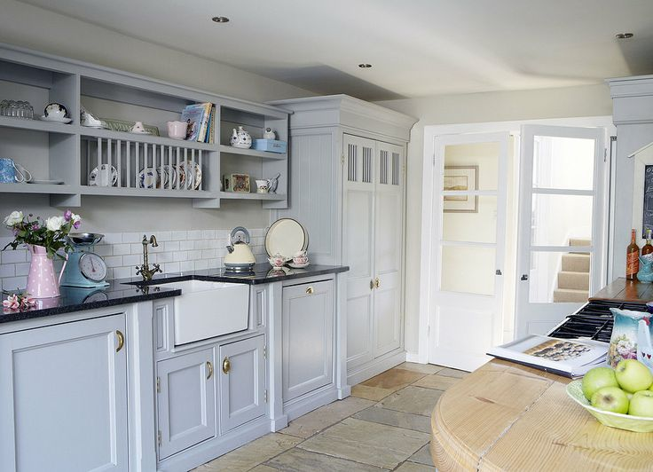 Pale blue country kitchen | Middleton Bespoke- love the open shelf concept.