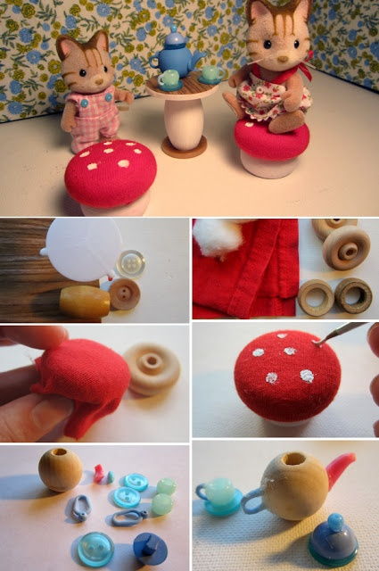 miniature toadstool table set (DIY) for Calico Critters.  reminds me of something that @Barb Peterson Gibson would do/love!