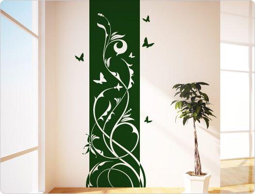 Wandtattoo Banner Ranke mit Schmetterling