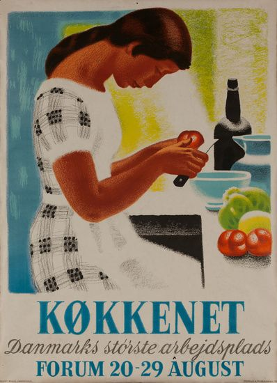 DP Vintage Posters - Køkkenet, Danmarks Største Arbejdsplads, The Kitchen, Denmark's Biggest Employer, Original Kitchen Exposition Poster