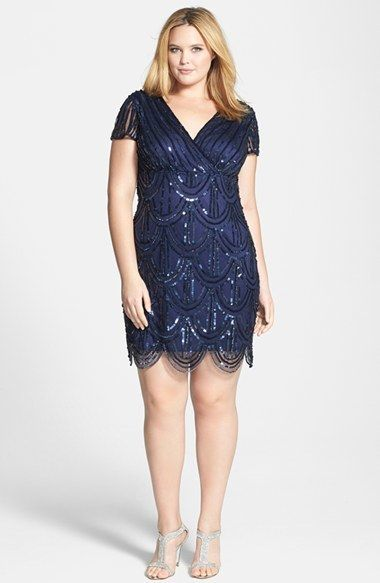 Plus Size Cocktail Dress - Plus Size Party Dress - Marina Beaded Empire Waist Dress (Plus Size)