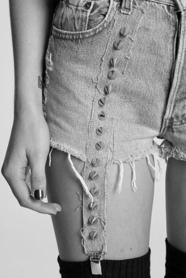 Jeans to shorts with built in (cut in?) garters. Paging @Sock Dreams ... #fashion #diy