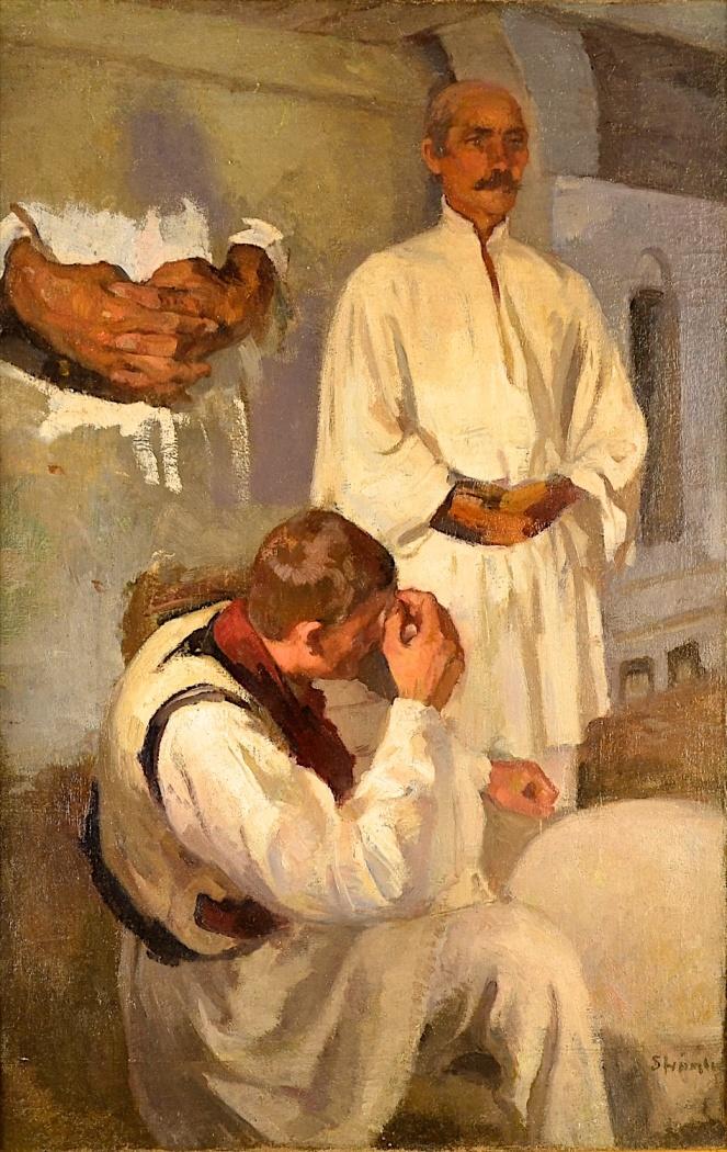Ipolit Strâmbulescu (Strâmbu) - Țărani la vatră cu studiu de mâini
