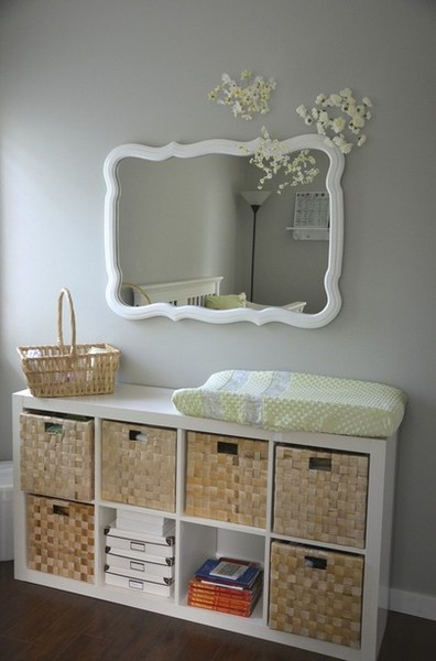 I'm not thinking changing table but just the idea is good! (p.s. I have a shelf like that! Haha.)