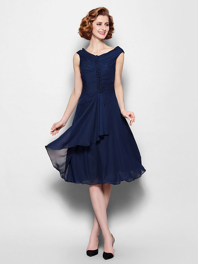 A-line Plus Sizes / Petite Mother of the Bride Dress - Dark Navy Knee-length Sleeveless Chiffon - USD $ 89.99