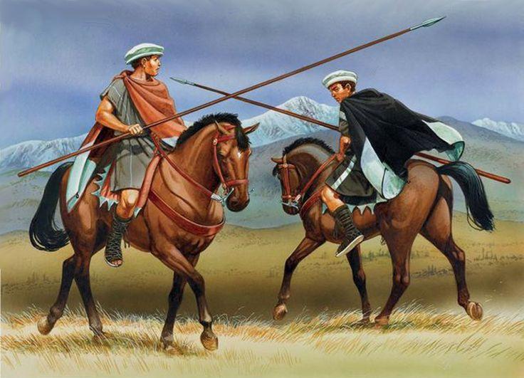 Macedonian light cavalry. The horsemen wear the characteristic kausia hat.