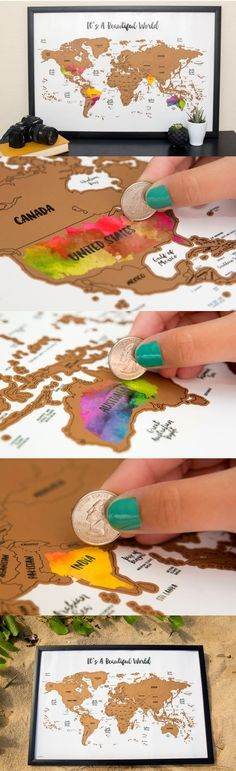 Scratch your travels with this gorgeous original watercolor world map. Bright, bold