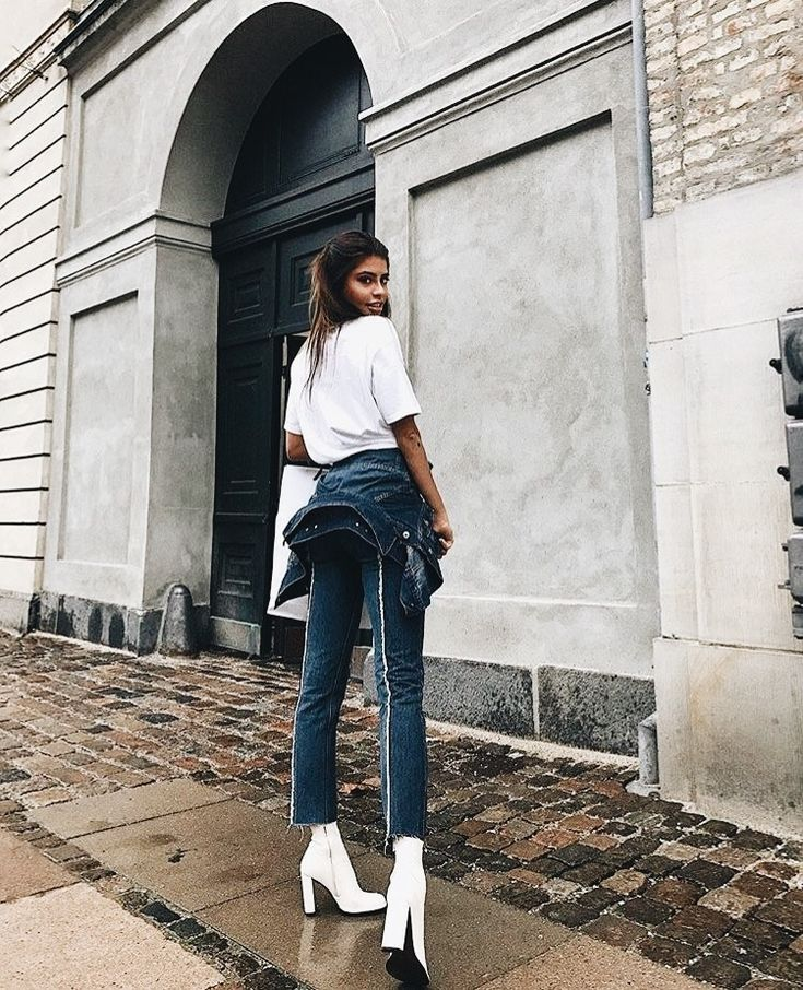 Basic white tee + pin stripe denim jeans with frayed edges + white ankle boots. #fashion street wear .