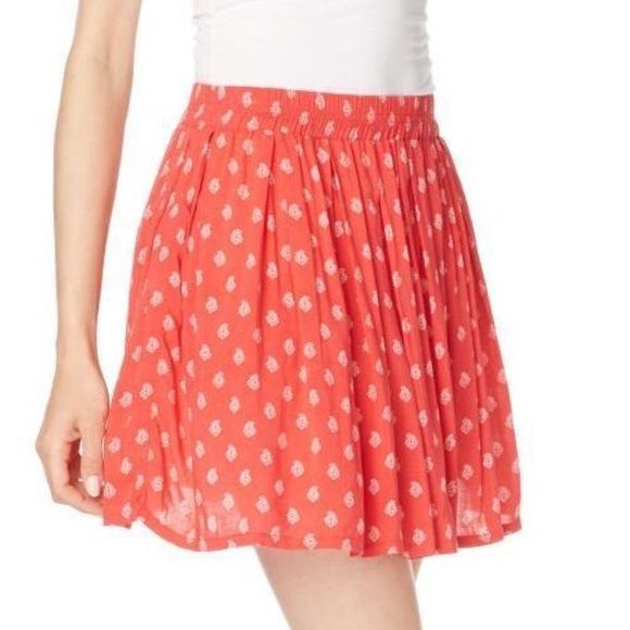 Red Skater Skirt Worn once. Cute paisley design and the color is gorgeous and more red than the cover photo with the model. Make me an offer  Skirts Circle & Skater