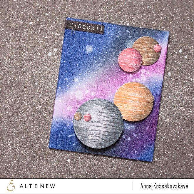 u rock planets and galaxy card by Anna Kossakovskaya