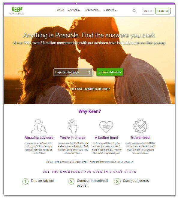 Keen Psychic Network reade portal.