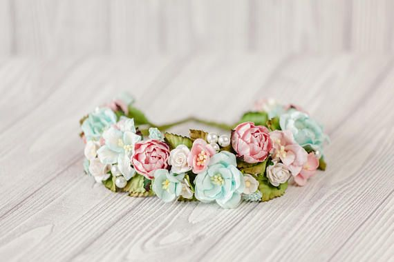 This flower crown is packed with white mixing turquoise and blush flowers. Bridal hair accessories in the shebby style with artificial flowers. Wedding hair wreath with art... #haircomb #jewerlyhair #weddingaccessory #bridalhairpiec #floralcomb #bridesmaidgift #bridesmaidhair #flowercomb #combbridal #weddingcomb