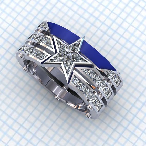Captain America Ring - Gents by PaulMichaelDesign on Etsy  Captain America...America's Team...blue and silver...it can most definitely work as a Dallas Cowboys ring.