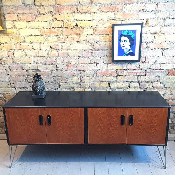 Upcycled mid century retro gplan sideboard ith industrial hairpin legs