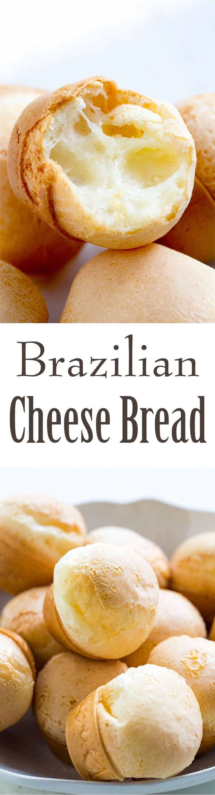 Brazilian Cheese Bread is EASY to make! Puffy, chewy, cheesy. All you need is tapioca flour, milk, egg, olive oil, and cheese. Gluten free and so good! Mix everything in a blender and pour into mini muffin tins to bake. On SimplyRecipes.com