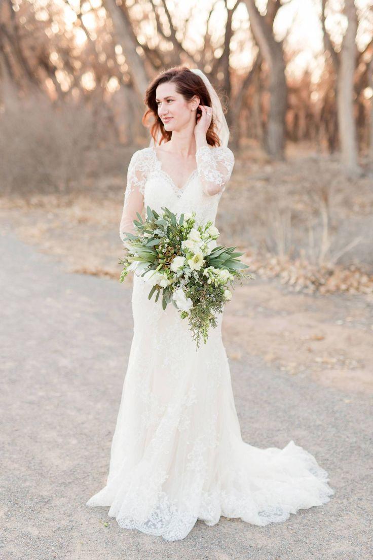 Hyatt Regency Tamaya Resort & Spa Inspiration // High Desert Winter Romance via Rocky Mountain Bride // green and white organic wedding bouquet // @floriographynm Missy Rich Photography @hyatttamaya