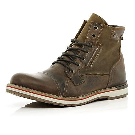 Brown two tone sole lace up worker boots - boots - shoes / boots - men