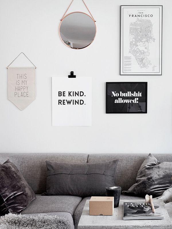mix of textures and materials in a Scandinavian living room. styling | Josefin Hååg