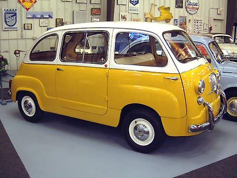 1960 Fiat 600 Multipla. Much development and testing resulted in a shape enclosing four people with a minimum of sheet metal, powered by a simple, reliable four-cylinder engine mounted at the rear. The resulting Fiat 600 was one of the great success stories of the twentieth century, with some 2.7 million cars produced.  The mixed-use station wagon, called 600 Multipla, was introduced in 1956. The idea was to multiply the serviceability of the 600 for both family motoring and business use.