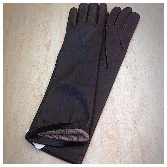 Women's elegant and classic long leather gloves warm and