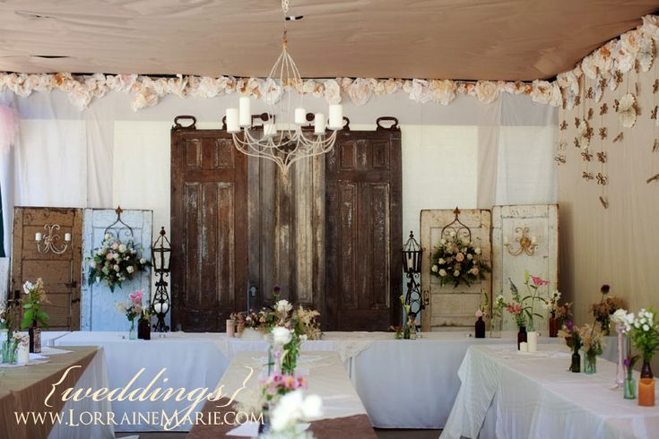 Head Table Decor Idea Help: These Vintage Doors Make A Beautiful Backdrop For The