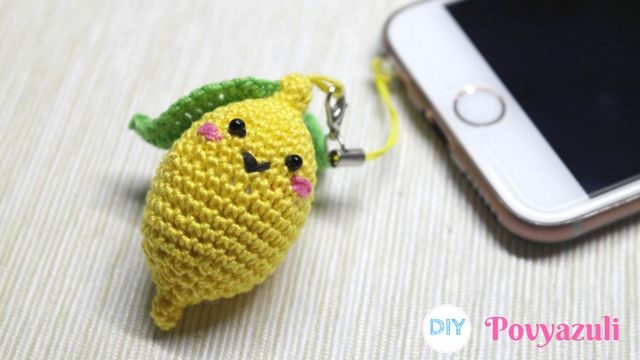 DIY Crochet and Knitting Povyazuli: [Crochet] How To Make A Crocheted Funny Amigurumi Lemon (Phone Charm or Keychain).