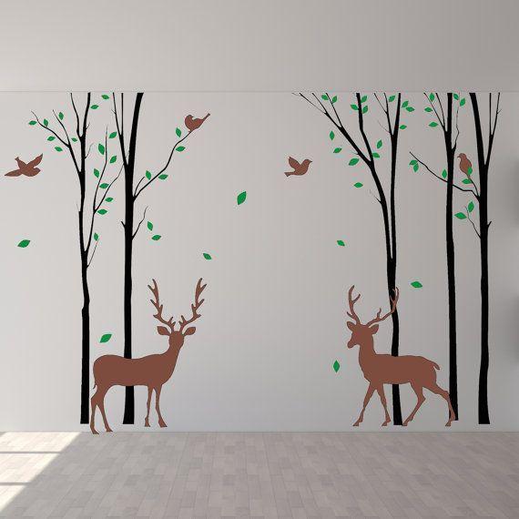 Deer wall decals birch wall decals birds deer wall for Deer mural decal