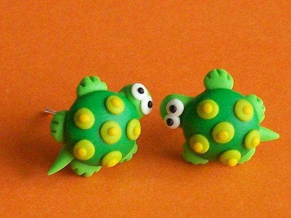 turtles stud earrings polymer clay fimo handmade