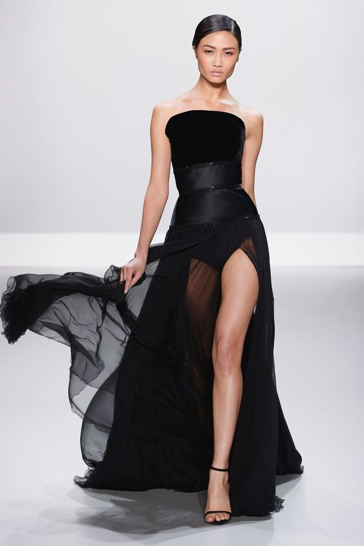 Black duchess silk and velvet strapless gown with sheer pleated French chiffon skirt and black embellishment