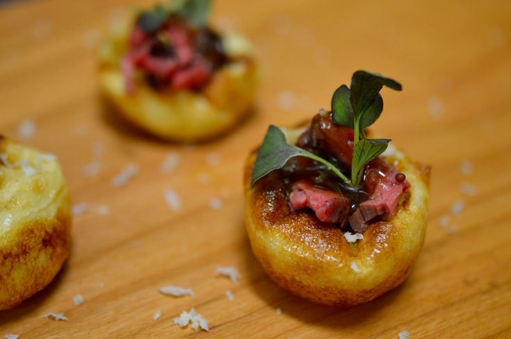 Holiday hors d'oeuvre recipes for Mini yorkshire puddings from elle cuisine.