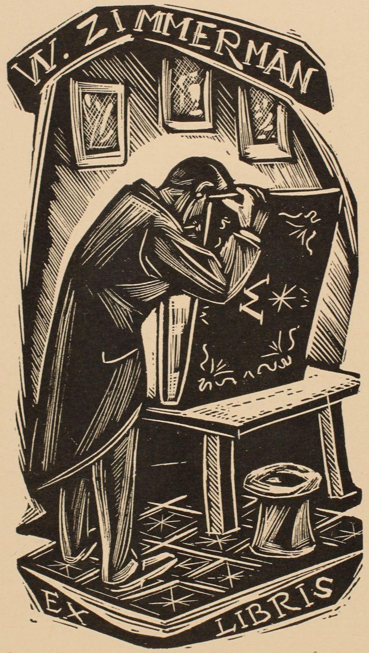 W. Zimmermann bookplate (or ex libris), by Remo Wolf.