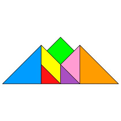 The solution for the Tangram puzzle #146 : Mountains