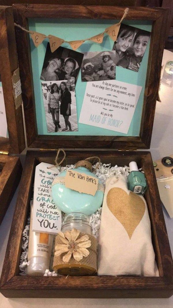 Rustic Maid Of Honor Proposal Box Ideas Cute Bridesmaids Gifts Bridesmaid Proposal Inexpensive Bridesmaid Gifts