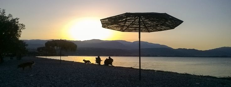 Aigio (Egio), Greece. Sunset at the beach of Aigio.