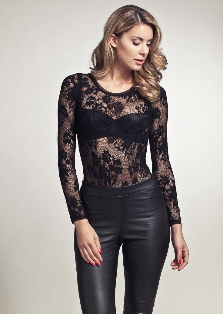 LoveStories - Nightflight Lace Body | Black | Floral Lace | Bodysuit | Bodystocking | One-piece