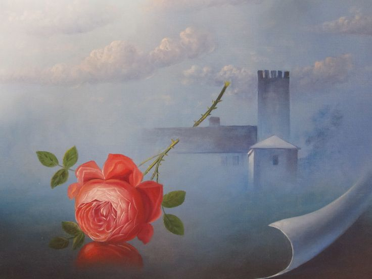 This French Rose symbolizes a page of a mystic story about a Castle in the Dordogne   #Art #Oilpainting