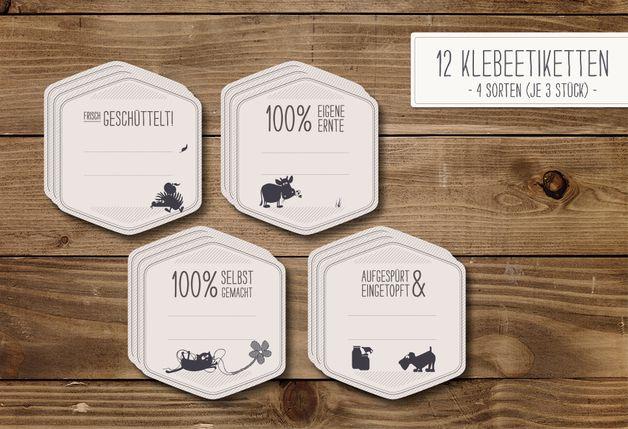 Etiketten - Marmeladenset 1 (Klebeetiketten, Deckelhauben &... - ein Designerstück von catsonappletrees bei DaWanda